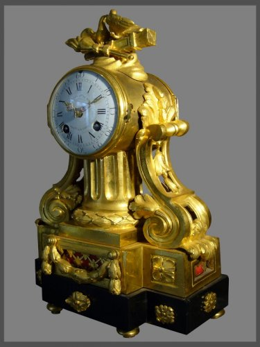 French Louis XVI period gilt-bronze and black marble mantel clock by Causard -