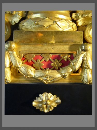 18th century - French Louis XVI period gilt-bronze and black marble mantel clock by Causard