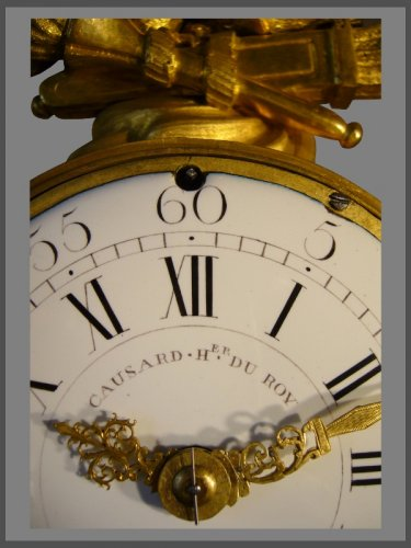French Louis XVI period gilt-bronze and black marble mantel clock by Causard - Louis XVI