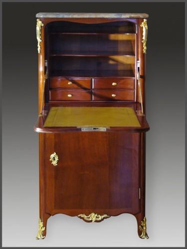 Louis XV Mahogany Secretaire by DUBOIS and JME - Furniture Style Louis XV