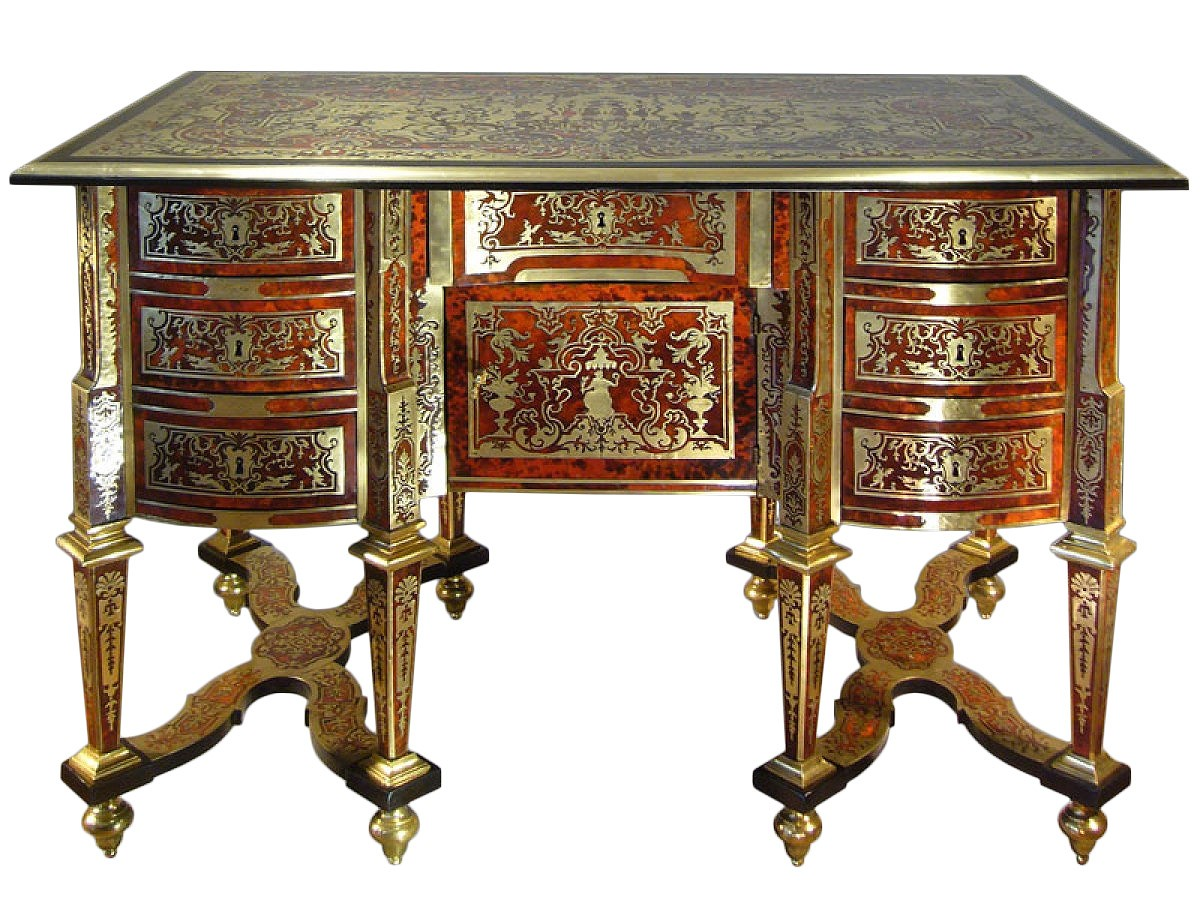 bureau mazarin en marqueterie boulle d 39 poque louis xiv xviie si cle. Black Bedroom Furniture Sets. Home Design Ideas