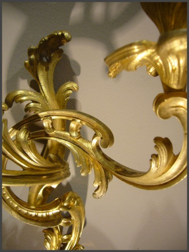 A pair of Louis XV period gilt-bronze two-branch wall-Lights - Lighting Style Louis XV
