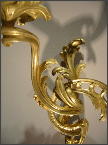 Lighting  - A pair of Louis XV period gilt-bronze two-branch wall-Lights