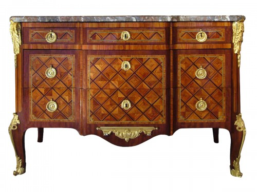 Commode marquetée d'époque Transition estampillée Jacques BIRCKLE