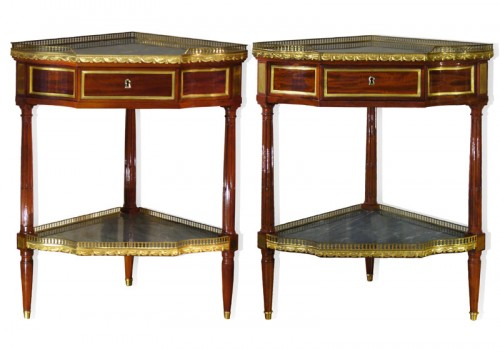 Louis XVI Pair of Mahogany Encoignures, by Georges JACOB