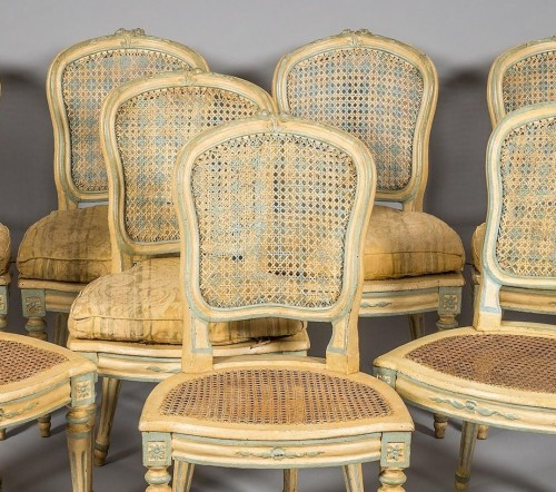 A Suite of eight Louis XV Caned Chairs - Seating Style Louis XV