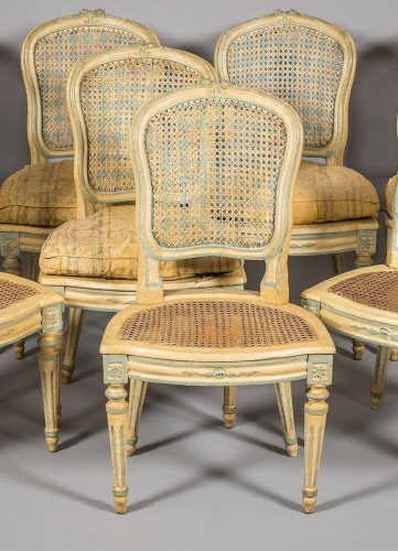 Seating  - A Suite of eight Louis XV Caned Chairs
