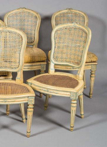18th century - A Suite of eight Louis XV Caned Chairs
