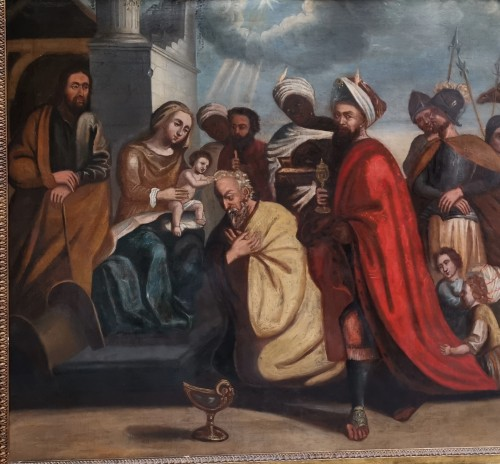 The adoration of The magi, Italian School 17 Th Century -