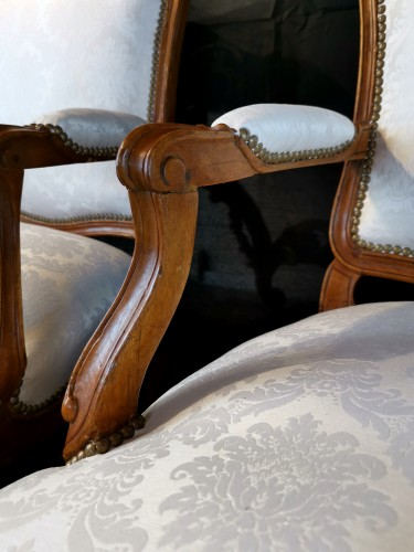 Antiquités - Pair of Louis XV armchairs circa 1750