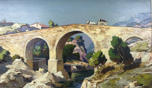 Gustave Vidal (1895-1966) - The old roman bridge  - Paintings & Drawings Style Art Déco