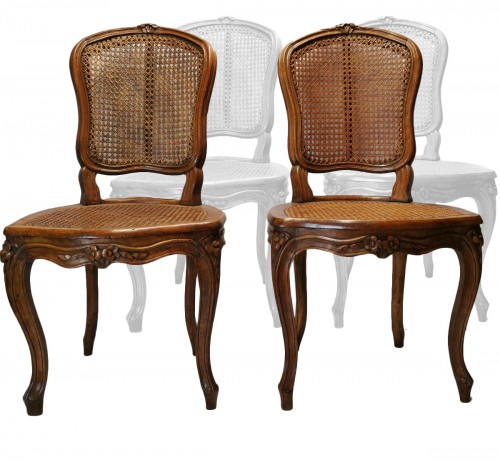 A set of four Louis XV cane chairs circa 1750