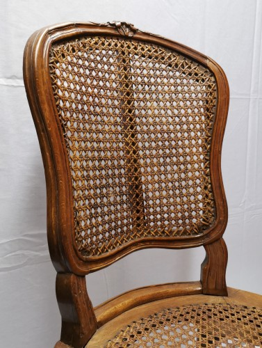 Louis XV - A set of four Louis XV cane chairs circa 1750