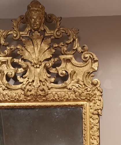 Antiquités - A giltwood Louis XIV period mirror 17th century circa 1680.