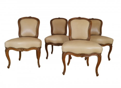 A Louis XV set of four chairs, mid 18th century, circa 1750