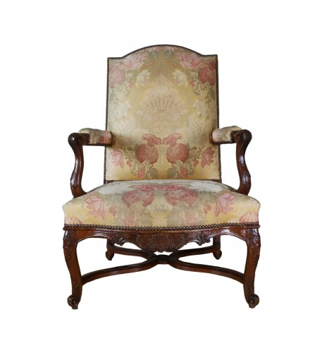 A Régence walnut armchair, early 18th century, circa 1715