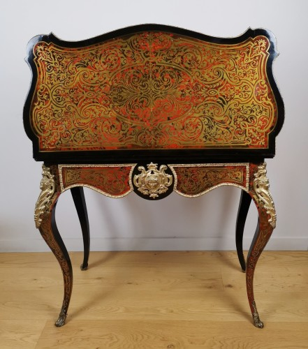 19th century - A Napoleon III, game console table in Boulle marquetry mid 19th century.