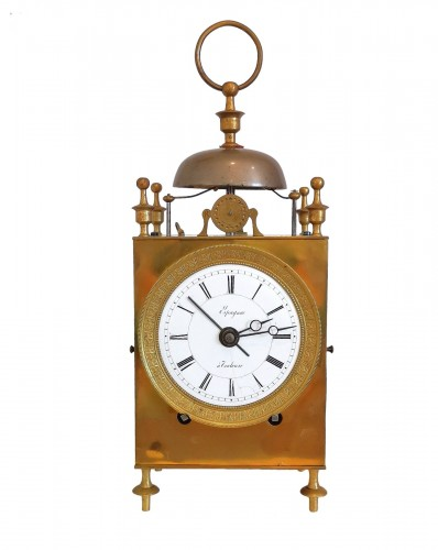 A Empire Officer's travel clock Called Capucine early 19th  circa 1800