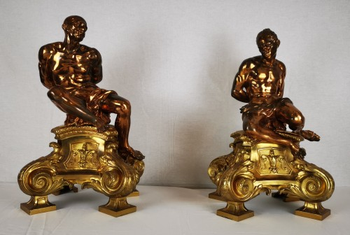 A pair of gilt-bronze slaves fire dogs, after a model by Pietro Tacca - Decorative Objects Style Napoléon III
