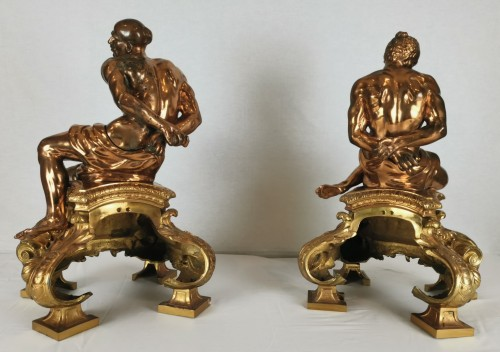 19th century - A pair of gilt-bronze slaves fire dogs, after a model by Pietro Tacca