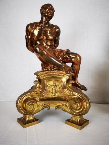 Napoléon III - A pair of gilt-bronze slaves fire dogs, after a model by Pietro Tacca