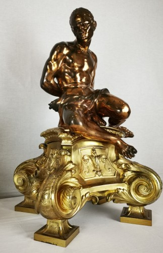 Antiquités - A pair of gilt-bronze slaves fire dogs, after a model by Pietro Tacca