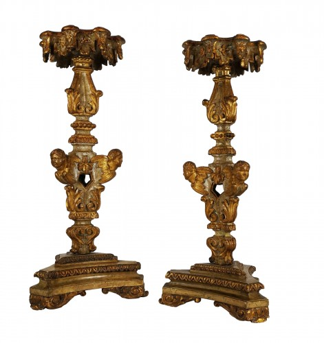 A Louis XIV pair of giltwood and laquered torchère table early 18th century