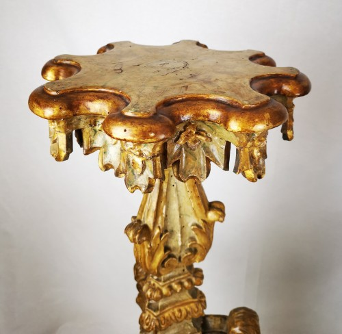 A Louis XIV pair of giltwood and laquered torchère table early 18th century - Decorative Objects Style Louis XIV