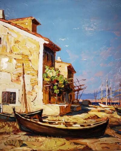 Gustave Vidal (1895-1966)  - Fisherman's house on the pond of Biguglia Corse. -