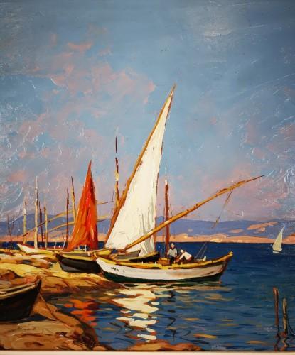 20th century - Gustave Vidal (1895-1966)  - Fisherman's house on the pond of Biguglia Corse.