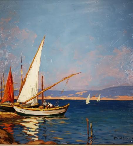 Gustave Vidal (1895-1966)  - Fisherman's house on the pond of Biguglia Corse. - Art nouveau
