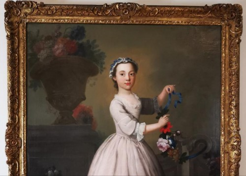 The girl with the garland of flowers -  Late 18th Circa 1770 - 1780 - Paintings & Drawings Style Louis XV