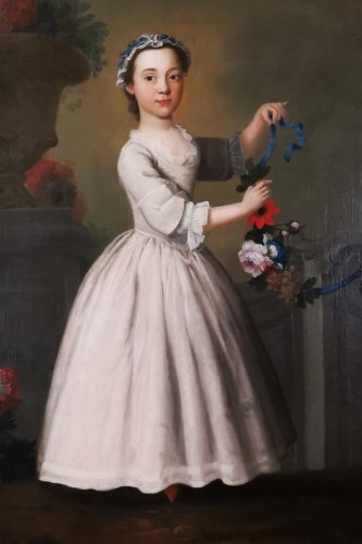The girl with the garland of flowers -  Late 18th Circa 1770 - 1780 -