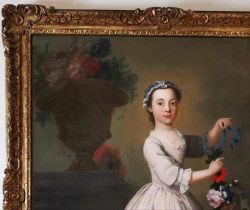 18th century - The girl with the garland of flowers -  Late 18th Circa 1770 - 1780
