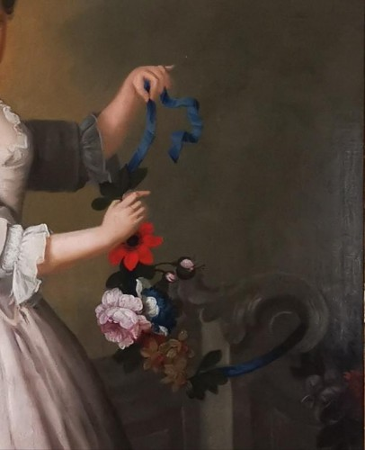 Antiquités - The girl with the garland of flowers -  Late 18th Circa 1770 - 1780