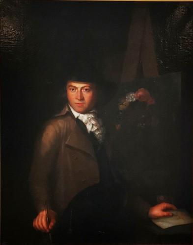 Self-portrait in chiaroscuro mid 18th century circa 1770-1780 - Paintings & Drawings Style Louis XVI