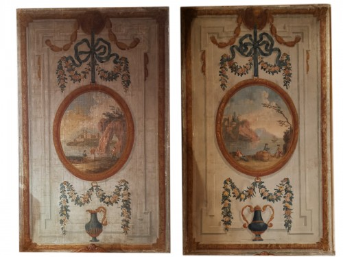 Pair of neoclassical painted canvases of woodwork late 18th early 19th 1800