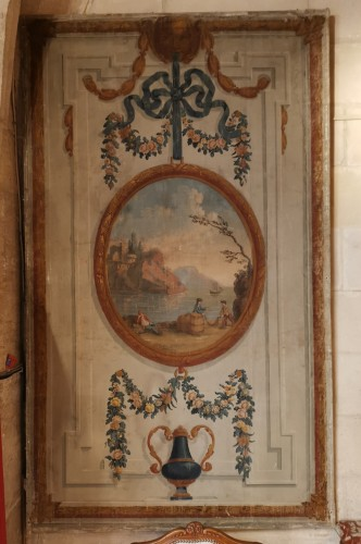 Paintings & Drawings  - Pair of neoclassical painted canvases of woodwork late 18th early 19th 1800