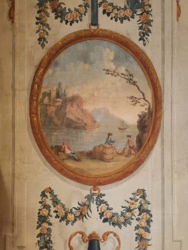 Pair of neoclassical painted canvases of woodwork late 18th early 19th 1800 - Directoire