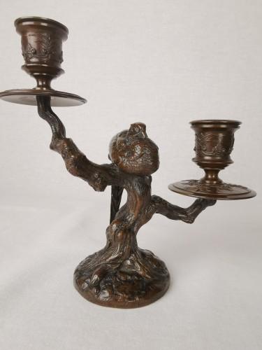 Sculpture  - A pair of candelabra with sleeping feasants, by Antoine-Louis Barye.