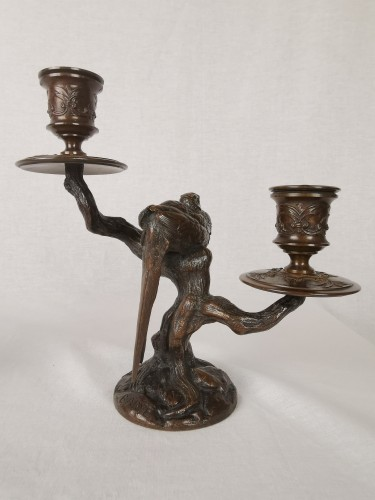 A pair of candelabra with sleeping feasants, by Antoine-Louis Barye. - Napoléon III