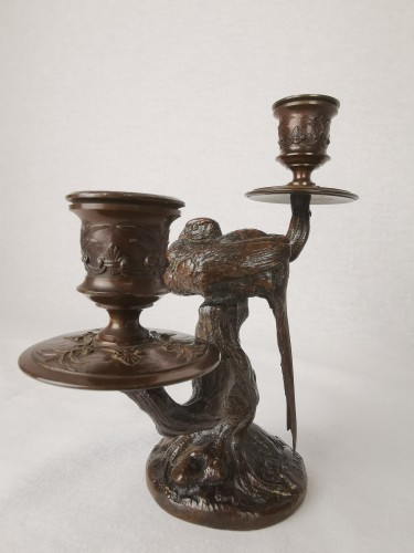 Napoléon III - A pair of candelabra with sleeping feasants, by Antoine-Louis Barye.