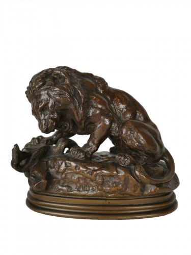 Antoine-Louis Barye Paris, 1795 - 1875 Lion with Snake No. 1