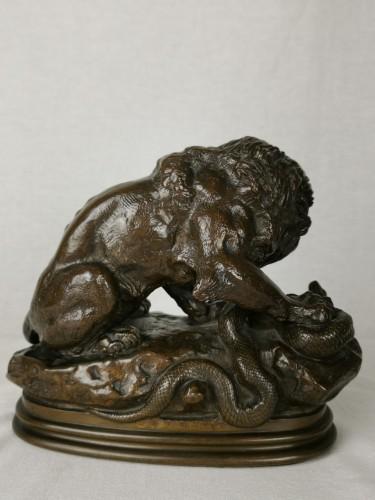 Antoine-Louis Barye Paris, 1795 - 1875 Lion with Snake No. 1 - Sculpture Style Napoléon III