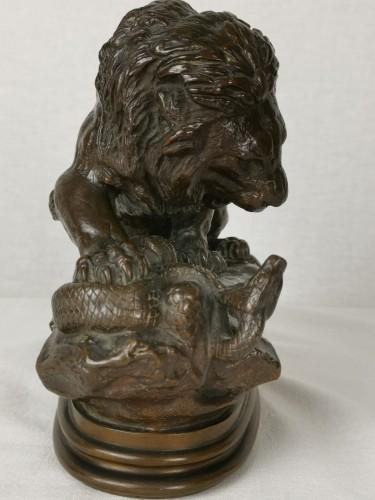 Sculpture  - Antoine-Louis Barye Paris, 1795 - 1875 Lion with Snake No. 1