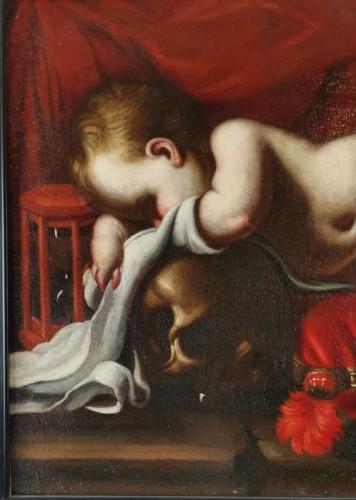 17th century -  Sleeping Putto, Vanité, Atelier de Luigi Miradori dit, the Genovesesio