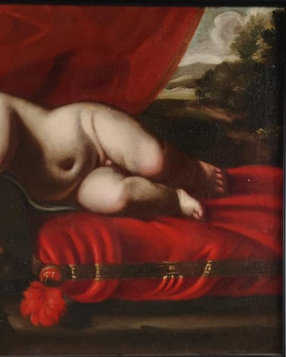 Sleeping Putto, Vanité, Atelier de Luigi Miradori dit, the Genovesesio - Louis XIV