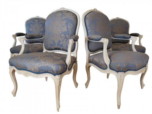 A set of four Louis XV painted armchairs by Louis-Michel Lefèvre 18th cent.