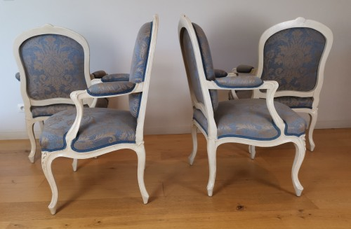 Seating  - A set of four Louis XV painted armchairs by Louis-Michel Lefèvre 18th cent.
