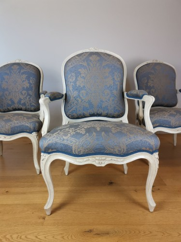 Louis XV - A set of four Louis XV painted armchairs by Louis-Michel Lefèvre 18th cent.
